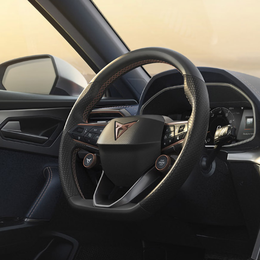 new cupra formentor compact suv with satellite control steering wheel