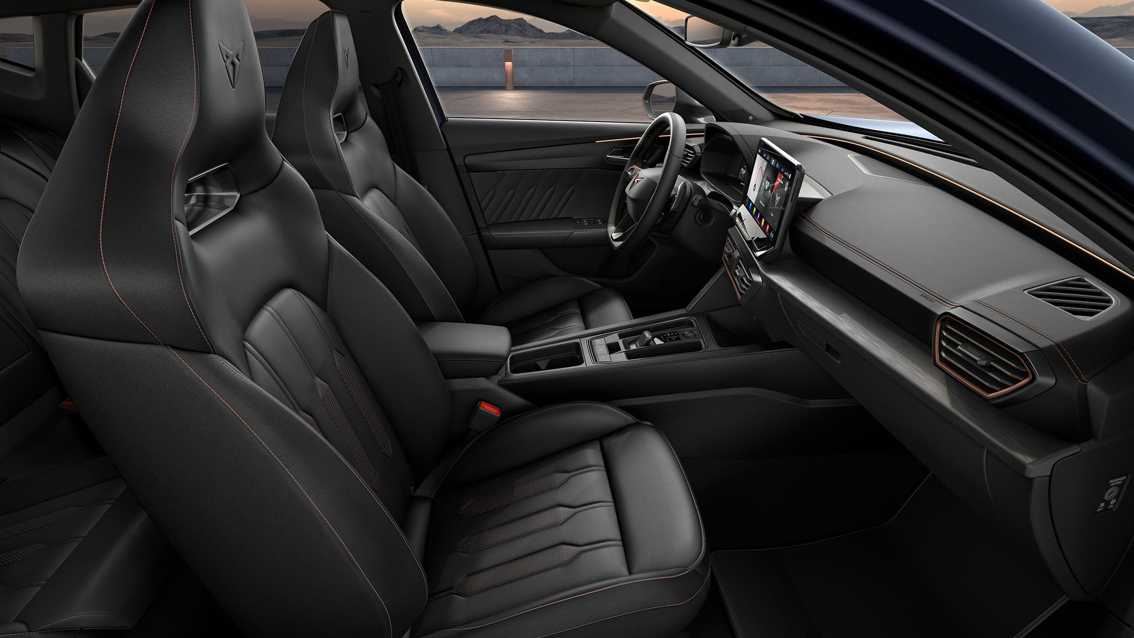 new cupra formentor interior with black leather bucket seats