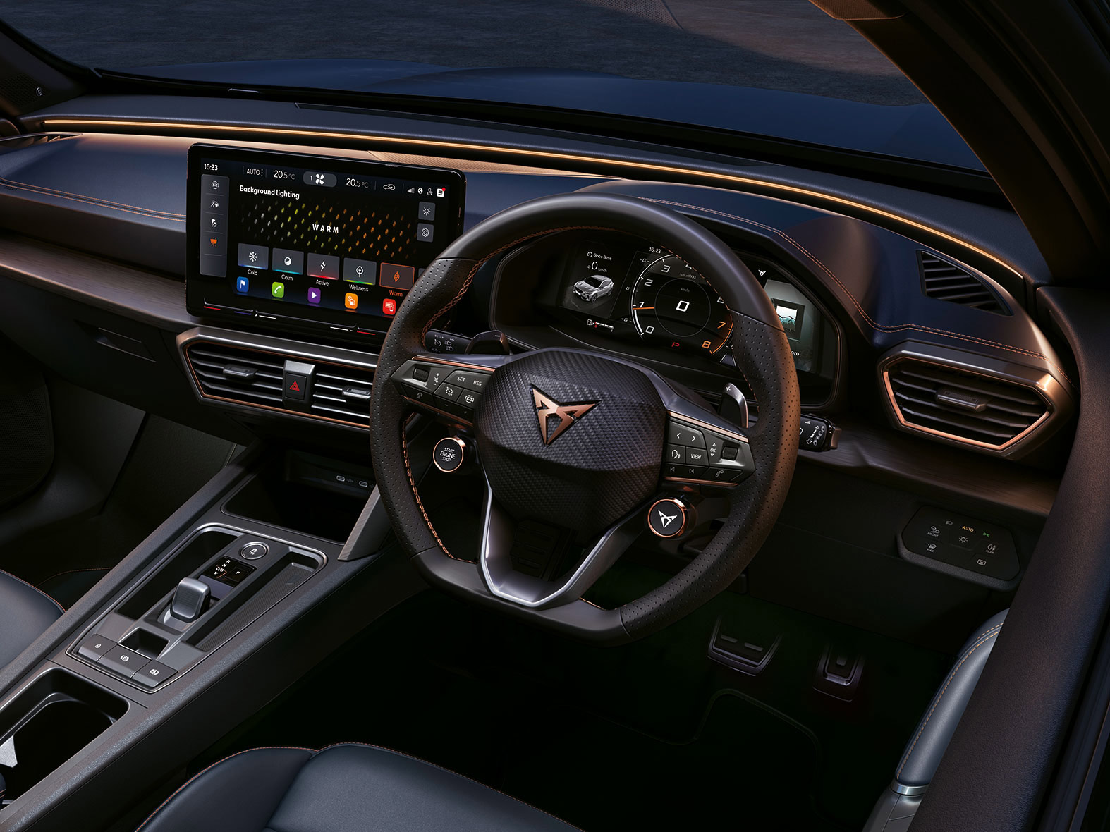 new cupra formentor interior with ambient lighting hues to suit your mood