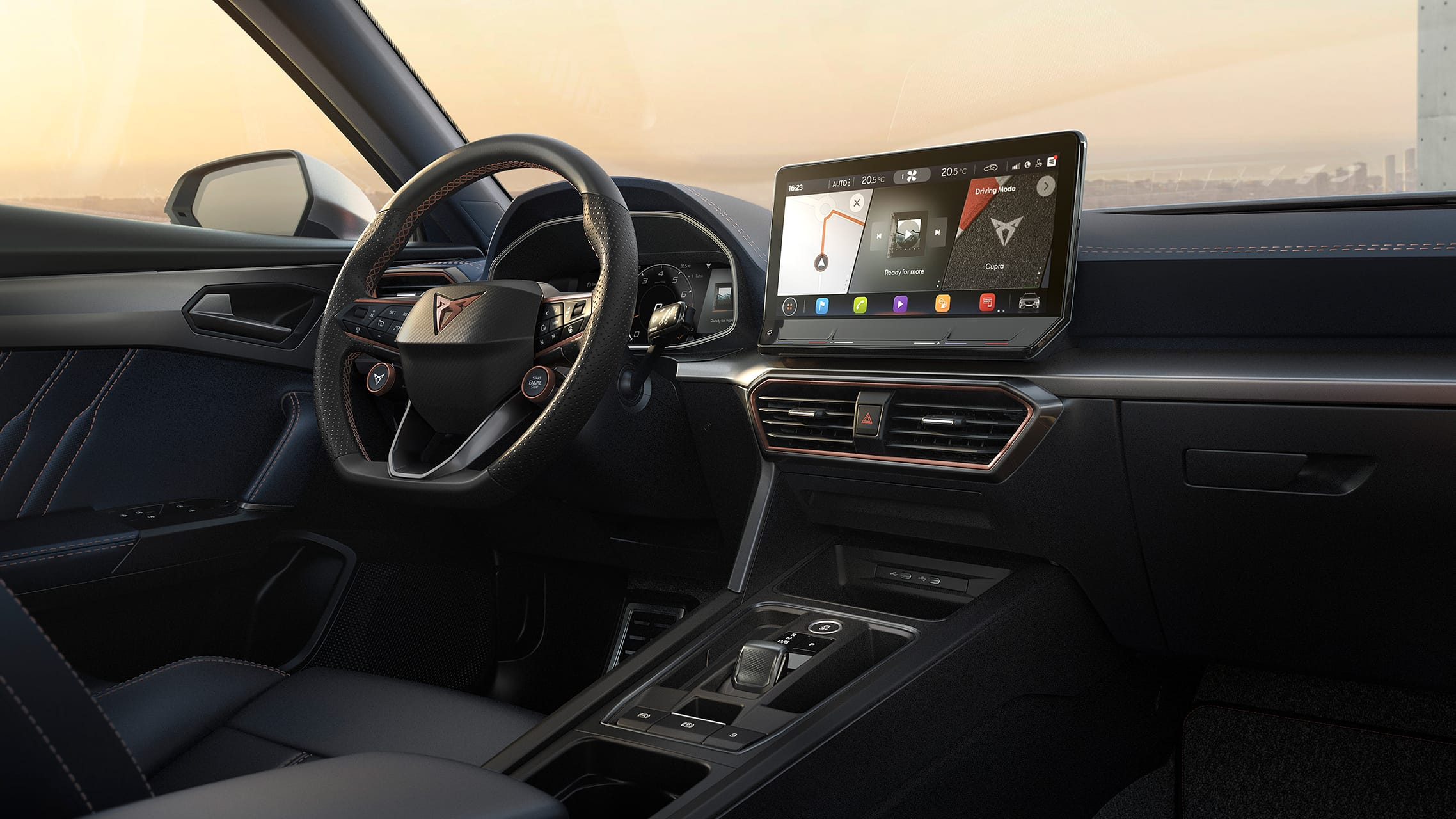 new cupra formentor with infotainment technology for live traffic updates and spotify streaming