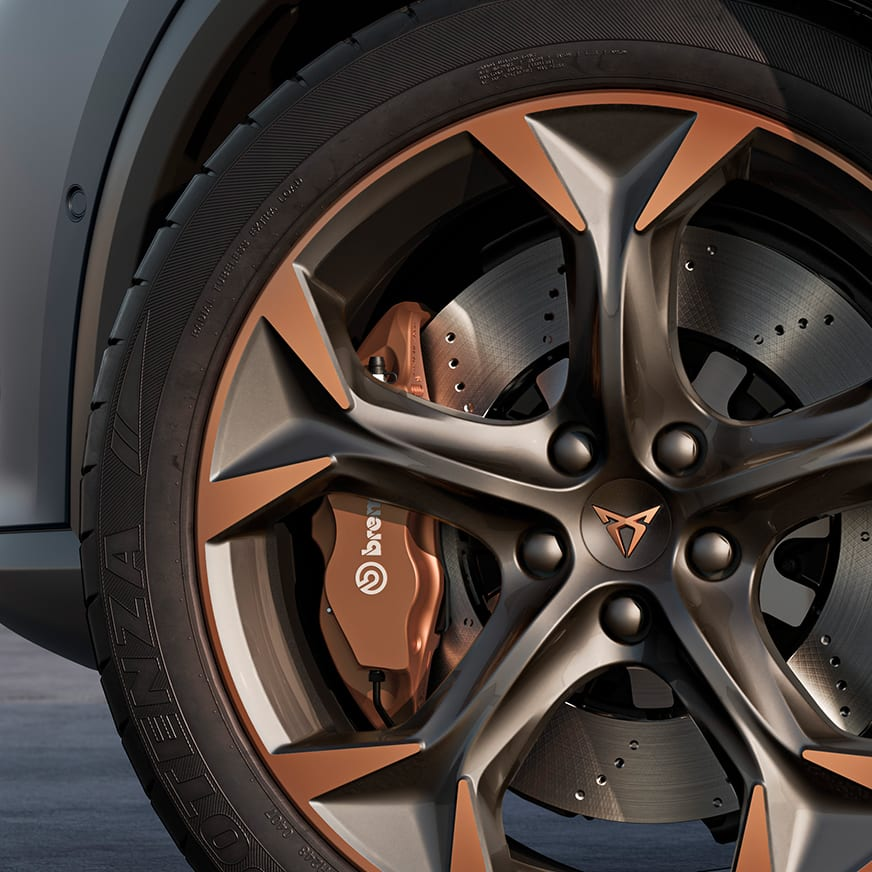 new cupra formentor compact suv with Brembo disc brakes in cupra copper