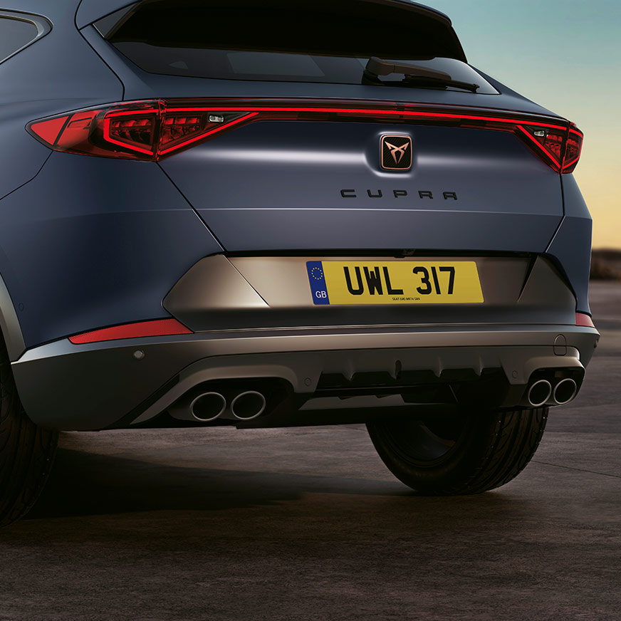 new cupra formentor compact suv with four black matte exhausts